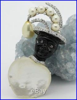 Signed JARIN Sterling Silver Blackamoor MOP Mother Of Pearl Headdress Brooch Pin