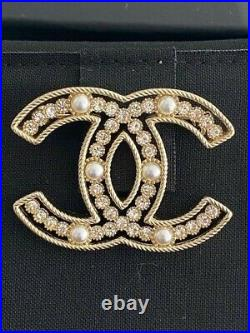Sold Out Classic Chanel Large CC Logo Crystal Pearl Brooch Pin
