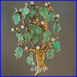 Solid 14K Yellow Gold &. 40 cttw Diamond Tree Brooch Pin w Carved Emerald Leaves