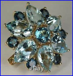 Sonia Bitton 14K Yellow Gold 20 CT Sky Swiss & London Blue Topaz Brooch Pin