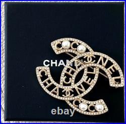 Statement Chanel 2020 CC Logo Crystal Pearl XL Brooch Pin