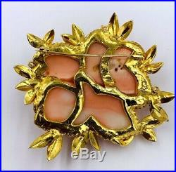 Stunning 14K Yellow Gold Carved Coral flower Rose Diamond Brooch Pin
