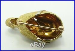Stunning 18K Y & W Gold Ruby Eyed Bird In Egg Diamond Brooch Pin 14.2grams B674