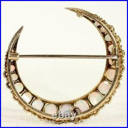 Stunning Antique 6ct Opal Cabochon Crescent Brooch Pin in 10K Yellow Gold Over