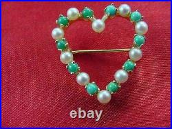 Stunning Solid 14k Yellow Gold Turquoise & Pearl Heart Shaped Pin Brooch #1918