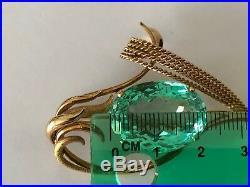 Super Rare 18K H Stern big 20 ct aquamarine sleek swirly brooch pin 19.5 gms