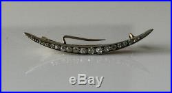 Superb Antique Victorian 9ct Gold And Silver Diamond Crescent Moon Brooch Pin