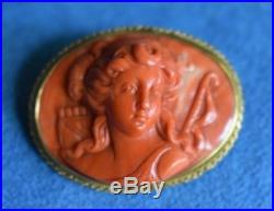 Superb Vintage 18Kt Gold Italian Carved Coral Goddess Diana Cameo Brooch Pin