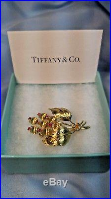 TIFFANY & CO 18K GOLD RUBY PIN Brooch 1950's Vintage $2295.00
