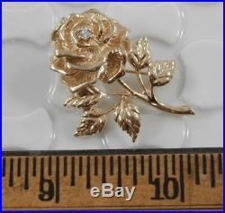 Tiffany & Co 14 Karat Yellow Gold Diamond Rose Flower Brooch Pin 14K J1205