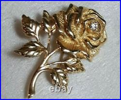 Tiffany & Co. 14k Rose Brooch 585 Yellow Gold Diamond Flower Pin T&Co. Jewelry
