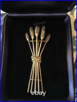 Tiffany & Co. 18K Yellow Gold Bundle of Wheat Pin Brooch