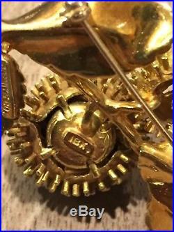 Tiffany & Co 18K Yellow Gold Diamond & Ruby Open Flower Pin Brooch