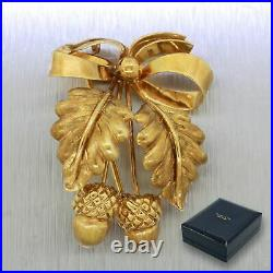 Tiffany & Co. 18k Solid Yellow Gold Acorn Brooch Pin with Box