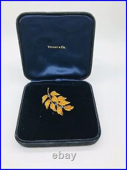 Tiffany & Co. 18k Vintage Yellow Gold Sapphire Flower Brooch Pin