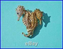 Tiffany & Co. 18kt Gold, Diamond & Yellow Diamond Double Seahorse Pin Brooch