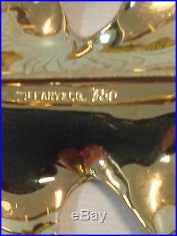Tiffany & Co Designer Oak Leaf Brooch Pin Solid 18k Yellow Gold Estate Jewelry
