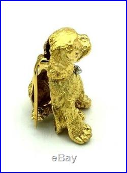 Tiffany & Co. Diamond Sapphire 18k Gold Dog Brooch Pin