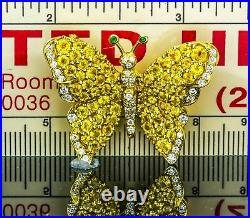 Tiffany & Co. Sapphire, Diamond, Emerald & 18kt Yellow Gold Butterfly Pin Brooch