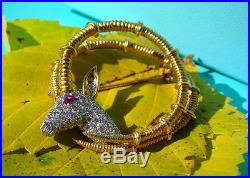 Tiffany & Co. Schlumberger 18kt Gold, Platinum, Diamond & Ruby Ibex Pin Brooch