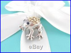 Tiffany & Co Silver 18k Gold Sapphire Frog Brooch Pin Box