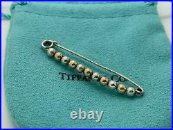 Tiffany & Co Sterling Silver 14k Yellow Gold Safety Diaper Ball Booby Pin Brooch