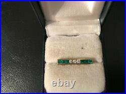 Tiffany & Co. T & Co. Emeralds & Diamonds Bar Pin 18k Gold Vtg