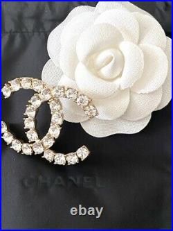 Timeless Classic Chanel Large CC Logo Crystal Brooch Pin