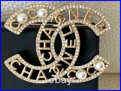 Timeless Classic Gorgeous Chanel Extra Large CC Logo Crystal Pearl Brooch Pin