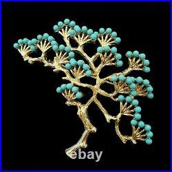 Turquoise Blue Gold Bonsai Tree Flower Brooch Pin Vintage Crown Trifari Look