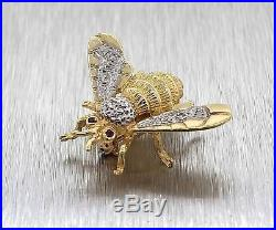 Unique 14K Yellow Gold Diamond Ruby Bug Fly Brooch Pin