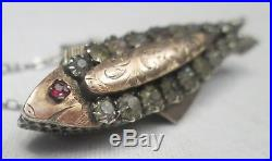 Unusual Victorian Antique Gold Sterling Silver Foil Backed Paste Fish Brooch Pin