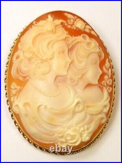 VERY LARGE 9ct GOLD CARVED SHELL SISTERS CAMEO PIN BROOCH NECKLACE PENDANT 14g