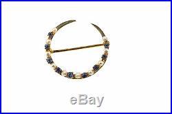 VICTORIAN 10k YELLOW GOLD CRESCENT MOON BROOCH PIN SEED PEARLS BLUE RHINESTONES