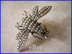 VICTORIAN GOLD BEE BROOCH PIN SET WITH SEED PEARLS 6gms OXIDISED GOLD FINISH