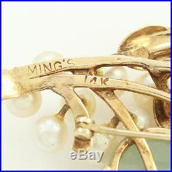 VINTAGE 14K Yellow GOLD JADE Cultured AKOYA PEARL Spray BROOCH Pin Mings 16.1g