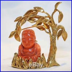 VINTAGE BORIS LE BEAU DESIGNER 1960'S CORAL BUDDHA BROOCH/PIN 18K $20K Value