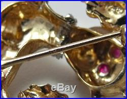 VINTAGE SOLID 14K GOLD RUBY DIAMOND FANCY DOG BROOCH PIN 7.0gr