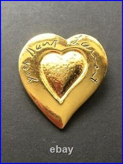 VIntage YSL Yves Saint Laurent Gold Heart Brooch Pin Mint Condition