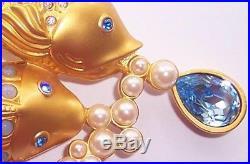 VTG Avon Elizabeth Taylor Gold Koi Fish Pearl Brooch Pin Sea Shimmer 1993 MINT