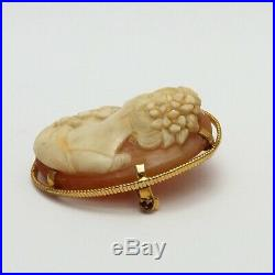 Victorian 10K Gold Carved Shell Cameo High Relief Brooch Pin Fine Detail