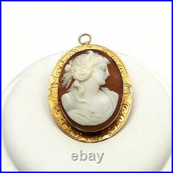 Victorian 10K Gold Hand Carved Shell Cameo Hand Etched Trim Pendant Brooch Pin