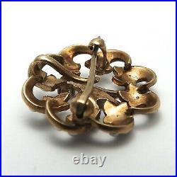 Victorian 10K Gold Mine Cut Diamond Dove Seed Pearl Brooch Watch Pin