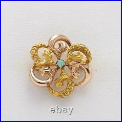 Victorian 10k Rose & Yellow Gold Opal Ornate Flower Brooch Pin 1.5gr
