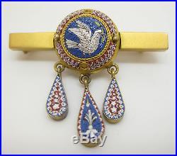 Victorian 14K GOLD MICRO MOSAIC DOVE & DANGLES BROOCH Fine Tesserae Bird Pin