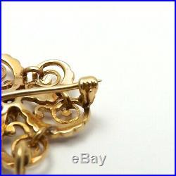 Victorian 14K Gold Mine Cut Diamond Seed Pearl Flower Brooch Pin Pendant