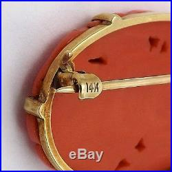 Victorian 14K Gold Natural Red Coral Hand Carved Brooch Pin 5.6gr