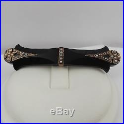 Victorian 14K Rose Gold Onyx Seed Pearl Mourning Bar Brooch Pin
