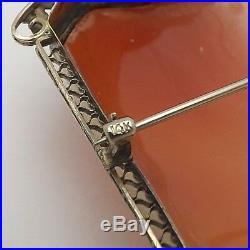 Victorian 14K White Gold Cameo Flora Habille Diamond Choker Brooch Pin Pendant