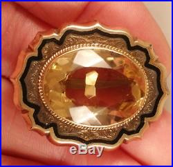 Victorian 14K Yellow Gold, Citrine, and Black Enamel Brooch Pin 11.2 grams